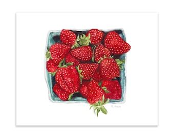 quart of strawberries art print - strawberry art - botanical illustration - kitchen art - strawberries art print - gifts for mother
