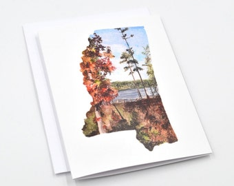 Mississippi Art Card - Watercolor Notecards - Watercolor Stationary - Mississippi Map Notecards - Landscape Notecards - Mississippi Gift