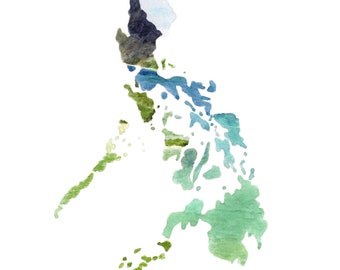 Philippines art print, Philippines gift, Philippines artwork, Philippines wall decor, Philippines wall art, Philippines watercolor