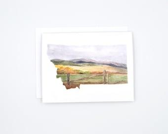 Montana State Art Card - Watercolor Notecard - Montana Gift - Montana Wedding - Blank Notecards - Montana Watercolor - Montana Art