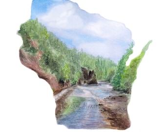 Wisconsin Art PRINT - Wisconsin State Art - Wisconsin PRINT - Wisconsin Map -  Wisconsin Gift - Wisconsin Watercolor - Wisconsin Wall Art