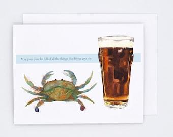Maryland Christmas cards - crabs and beer birthday card - Maryland holiday - MD seasons greetings