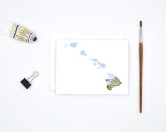 Hawaii State Art Card - Hawaii Notecard - Watercolor Card - Hawaii Gift - Hawaii Wedding - Blank Notecards - Hawaii Watercolor - Hawaii Art