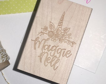 Custom Hand-lettered Name Stamp in Unicorn Style: For Gift Tags, Stationery or Crafts