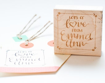 Custom Hand-lettered Name Stamp in Lots of Love Style: For Gift Tags, Stationery or Crafts