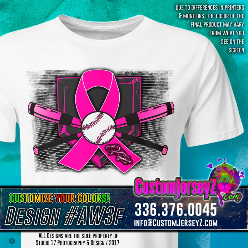 f7c04b4e98e3 FIGHT RIBBON. Breast Cancer Awareness shirt. Softball