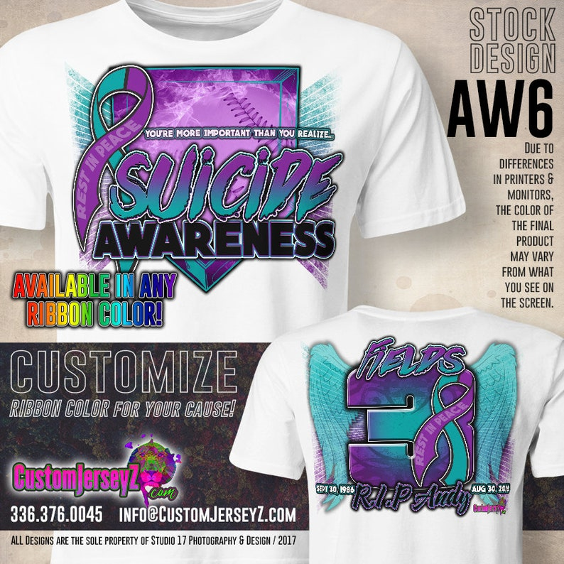 Personalized Screen To Id Suicidal >> Suicide Awareness Custom Sports Shirt Softball Dri Fit Etsy