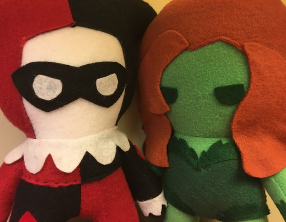 Harley Quinn And Poison Ivy Dc Comics Fleece Plush Dolls Etsy