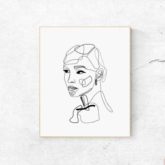 Female Face Line Art Printable Abstract Art Woman Face Drawing Black White Print One Line Art Print Abstract Print Modern Illustration