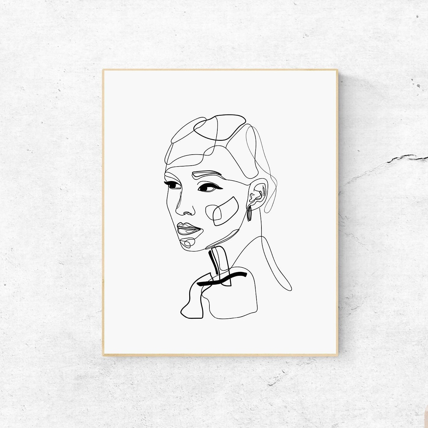 Female Face Line Art, Printable Abstract Art, Woman Face Drawing, Black  White Print, One Line Art Print, Abstract Print, Modern Illustration