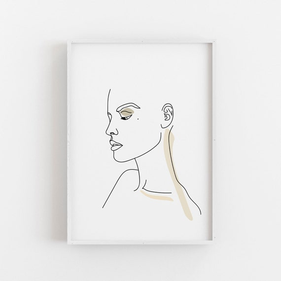 Female Face Drawing One Line Drawing Abstract Line Art Printable Art Woman Face Print Female Line Art
