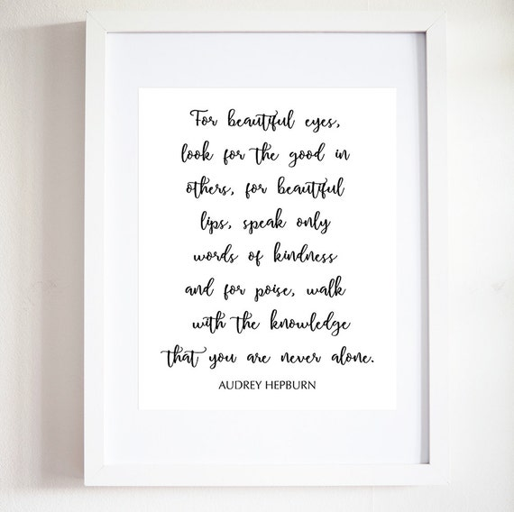 Audrey Hepburn Quote Print Audrey Hepburn Poster Black And Etsy