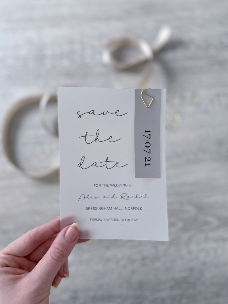 Teardrop Paperclip Vellum And Grey Card Save The Date Cards Personalised