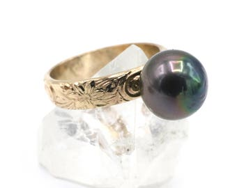 14K Yellow Gold Fill Heirloom Tahitian Pearl Ring