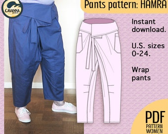 Instant download Plus size Thai wrap pants pattern for women, PDF pattern for a relaxed look, no buttons or zipper for your DIY wardrobe