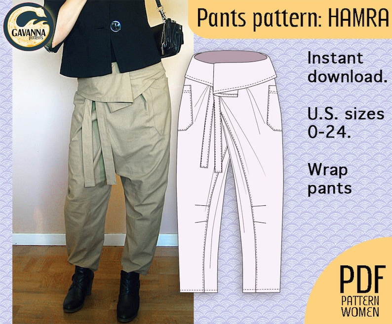 08ecc22c58f Instant download Thai wrap pants pattern for women multi size