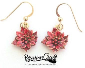 Gold Poinsettia Earrings with Red Epoxy Resin - Red Poinsettia Earrings - Christmas Earrings - Holiday Earrings - Christmas Jewelry