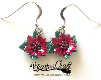 Silver Poinsettia Earrings with Sheer Red and Green  Epoxy Resin - Poinsettia Earrings - Christmas Earrings - Christmas Jewelry