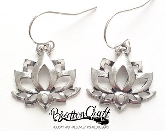 Silver Lotus Flower Earrings - Lotus Flower Earrings - Spiritual Earrings - Yoga Earrings - Zen Earrings - Lotus Earrings