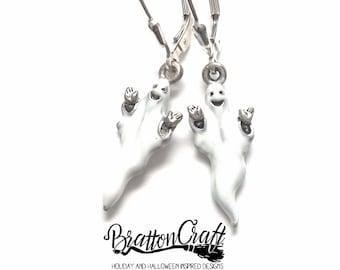 Happy White Ghost Earrings - Fun Halloween Earrings - Halloween Jewelry - Silver Ghost Earrings - Silver Ghost Jewelry - Samhain