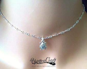 Silver Ladybug Choker - Ladybug Choker - Ladybug Jewelry - Bug Choker - Insect Jewelry
