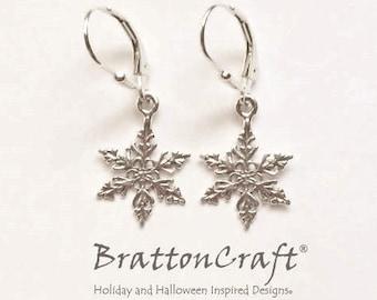 Silver Snowflake Earrings - Sterling Silver Snowflake Earrings - Winter Earrings - Winter Wedding Earrings - Christmas Earrings