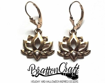 Gold Lotus Flower Earrings - Lotus Flower Earrings - Spiritual Earrings - Yoga Earrings - Zen Earrings - Lotus Earrings