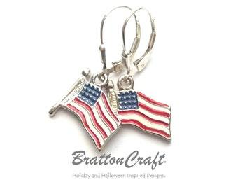 American Flag Earrings - USA Flag Earrings - Patriotic Earrings - Flag Earrings - Red, White and Blue Earrings