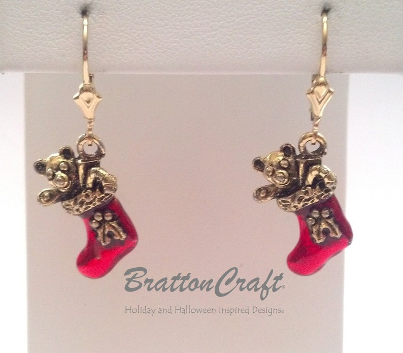 Red Christmas Jewelry Christmas Stocking Earrings Red Christmas Stocking Earrings Holiday Jewelry Holiday Earrings