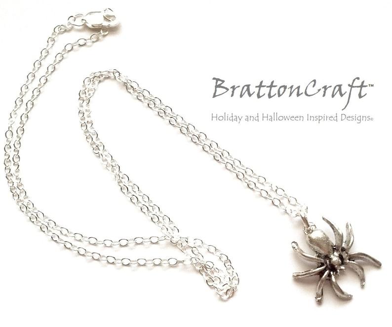 Spooky Jewelry Halloween Necklace Halloween Jewelry Spider Jewelry Silver Spider Necklace Spider Necklace