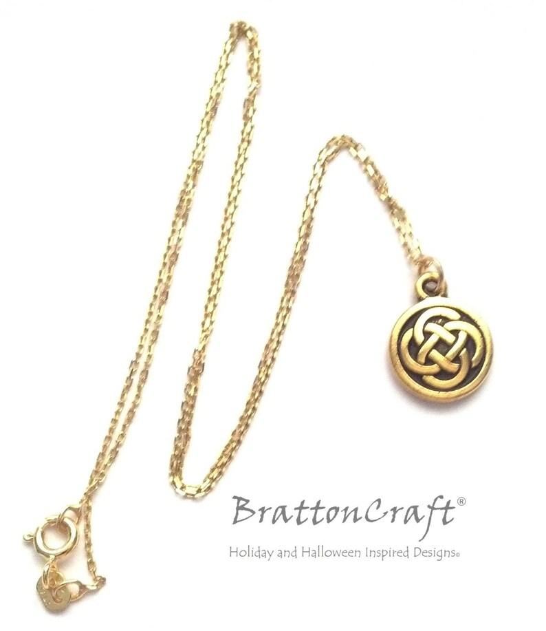 Scottish Necklace Celtic Circle Necklace Celtic Knot Jewelry Irish Jewelry Gold Celtic Knot Necklace
