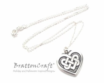 "3/4"" Silver Celtic Knot Heart Necklace - Double Celtic Heart Knot Necklace - Celtic Love Knot Necklace - Valentine Necklace"