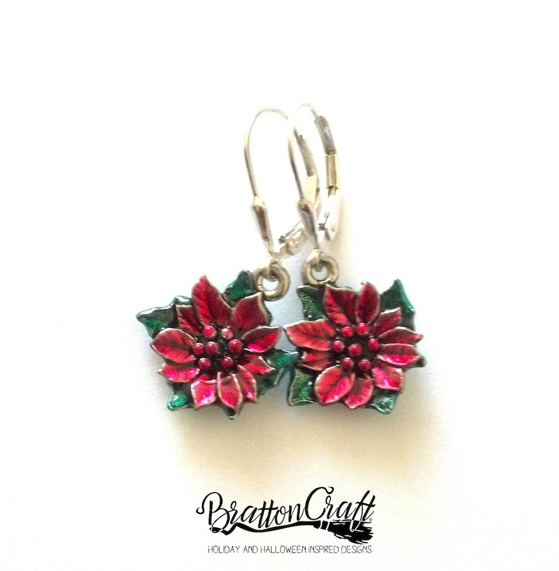 6863a6545 Silver Poinsettia Earrings with Sheer Red and Green Epoxy | Etsy