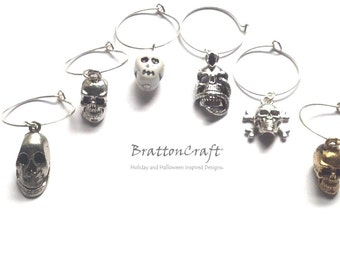 Skull Wine Charms - Wine Charms - Barware - Wine Glass Charms - Wine Lover - Stocking Stuffers - Holiday Gifts