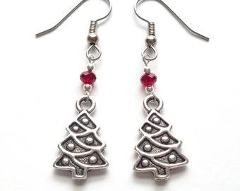 Christmas Tree Earrings - Christmas Tree Jewelry - Christmas Earrings - Christmas Jewelry - Holiday Jewelry - Holiday Earrings
