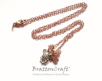 Antique Copper Butterfly and Silver Ladybug Necklace - Copper Butterfly and Silver Ladybug Necklace - Bug Necklace
