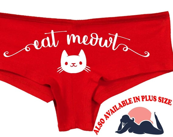 EAT MEOWT me out flirty panty game kitten pussy cat neko kawaii pet play honeymoon bridal bachelorette hen panties party sexy oral sex lick