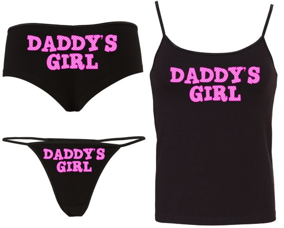 POLKA Dot DADDYS GIRL Camisole Set with matching boy short or thong panties boyshort sexy for kitten rude slutty ddlg cglg daddy's princess