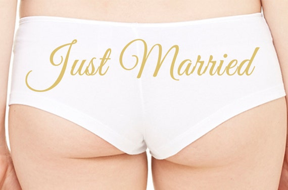 JUST MARRIED 3 Wifey new wife honeymoon engagement bridal bachelorette hen gift panty Panties boyshort color white sexy funny party ring