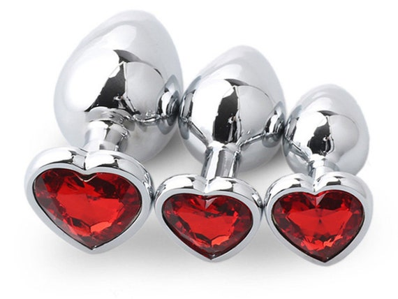 RED HEART SHAPED Acrylic Crystal Butt plug in 3 sizes anal toy sex jeweled ass dildo cglg hotwife hot wife shared vixen slut Owned Princess