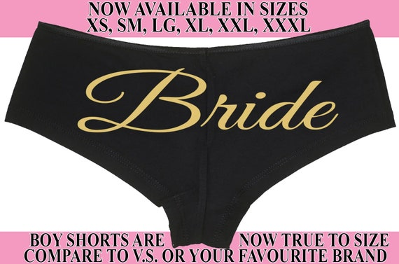 BRIDE Just Married Wifey new wife honeymoon engagement bridal bachelorette hen gift panty panties black boyshort white sexy funny party ring