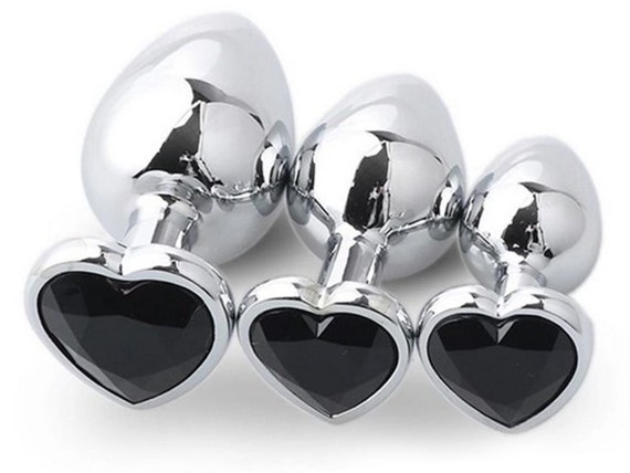BLACK HEART Shaped Acrylic Crystal Butt plug 3 sizes anal toy sex jewel ass dildo cglg hotwife hot wife vixen slut bbc queen spades Princess