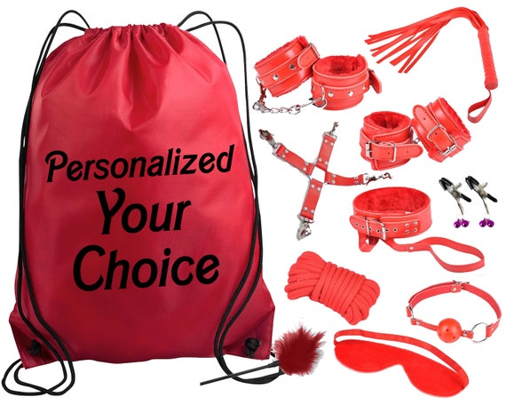 Beginners Bondage Kit and Personalized Storage Bag - Daddy Master DDLG BDSM CGLG Submissive Dominant Rope Cuffs Leash Whip Nipple Clamps