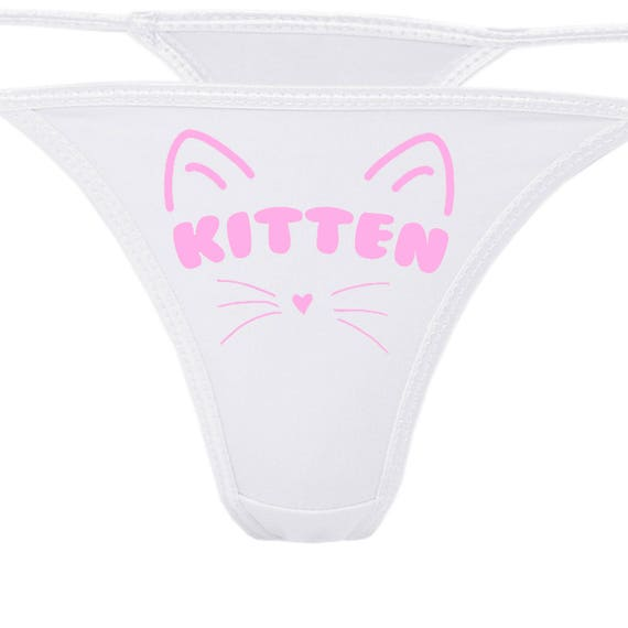 KITTEN flirty cgl white thong show your slutty side choice of colors Daddy's Little Slut Daddy's Girl