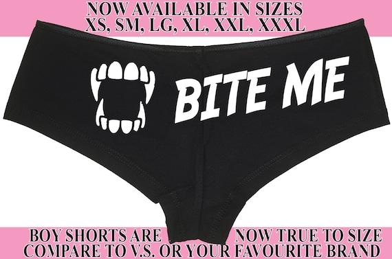 BITE ME ... Halloween boy short panties Vampire or goth boyshort underwear color choices sexy funny flirty oral sex blood sucker true gift
