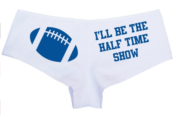 I Will Be The HALF TIME SHOW flirty white boy short underwear panties Pro College Football Team Colors panty game bridal shower party gift