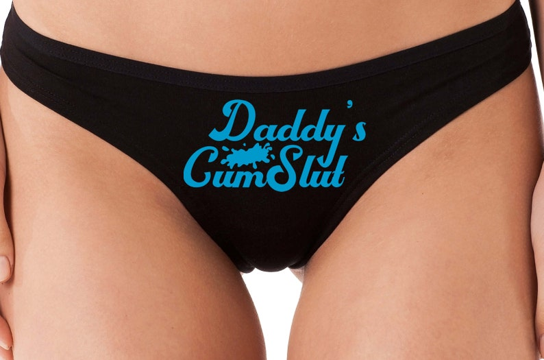 DADDYS Little C*MSLUT with splash flirty ddlg cgl comfy black cotton thong kitten show slutty side hotwife bdsm shared owned submissive slut