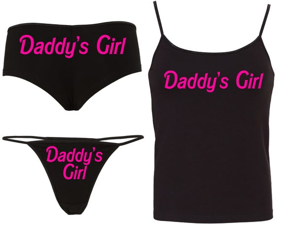 Daddys DADDY'S GIRL Camisole Set 15 color choices matching boy short thong panties boyshort hen party bachelorette BDSM ddlg cglg baby girl