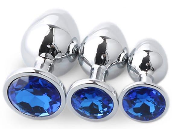ROYAL SAPPHIRE BLUE Round Shaped Acrylic Crystal Butt plug 3 sizes anal toy sex jewel ass dildo cglg hotwife hot wife vixen slut Princess