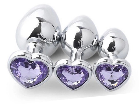 LIGHT PURPLE Lavender HEART Shaped Acrylic Crystal Butt plug 3 sizes anal toy sex jewel ass dildo cglg hotwife hot wife vixen slut Princess